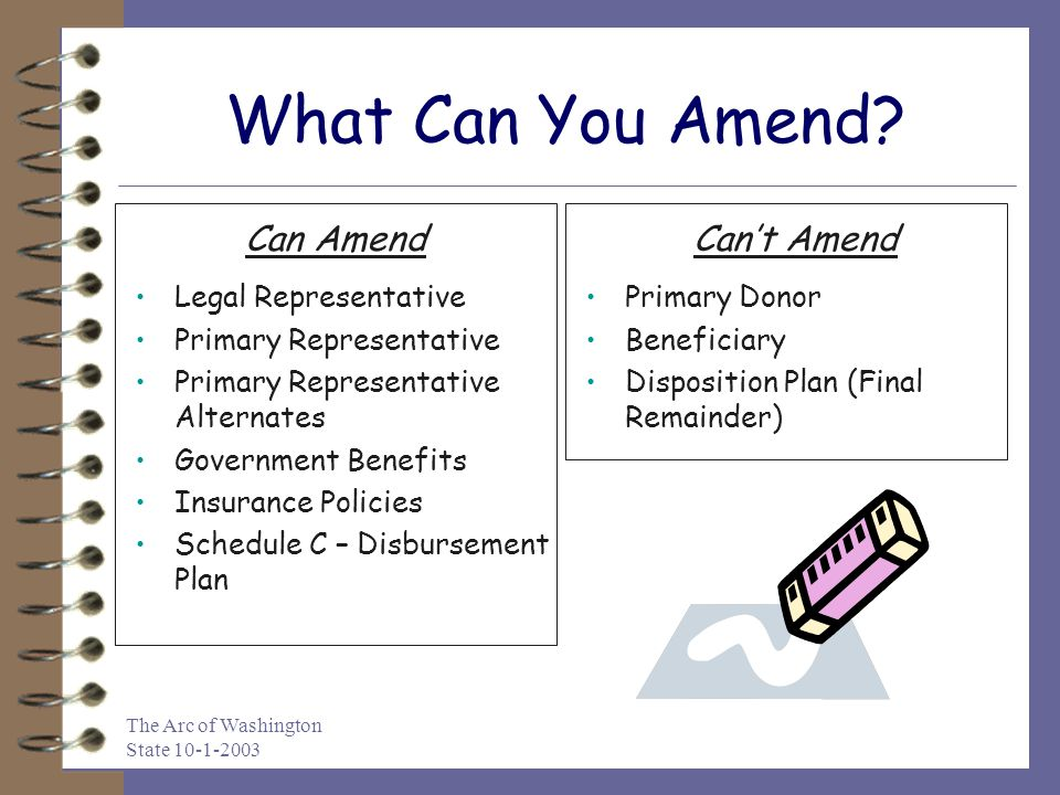 The Arc of Washington State 10-1-2003 What Can You Amend.