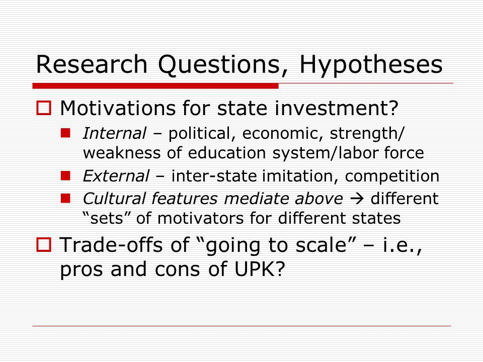 Research Questions, Hypotheses  Motivations for state investment.