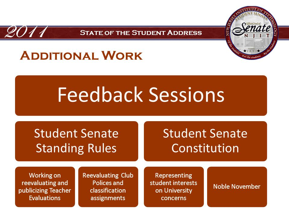 2011 State of the Student Address Additional Work Feedback Sessions Student Senate Standing Rules Working on reevaluating and publicizing Teacher Evaluations Reevaluating Club Polices and classification assignments Student Senate Constitution Representing student interests on University concerns Noble November
