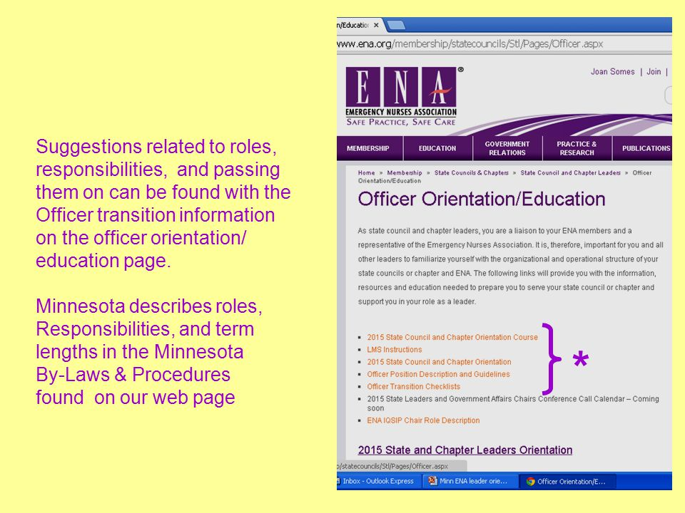 Suggestions related to roles, responsibilities, and passing them on can be found with the Officer transition information on the officer orientation/ education page.