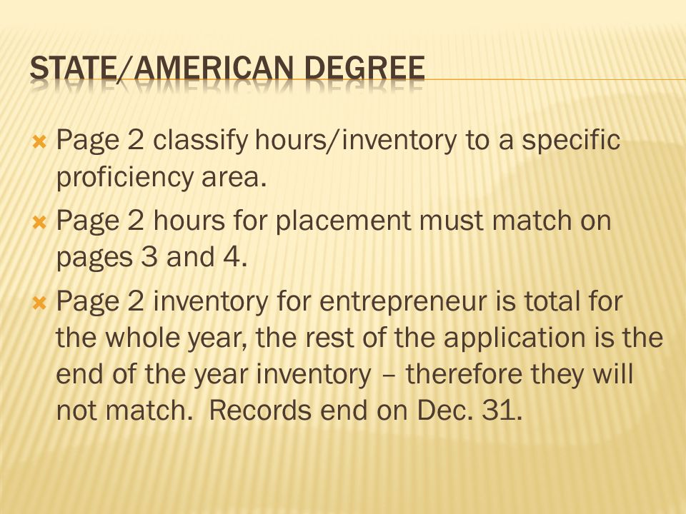  Current and non-current- on page 9 of the State/American degree must show entries here.