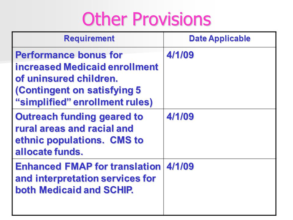 Other Provisions Requirement Requirement Date Applicable Performance bonus for increased Medicaid enrollment of uninsured children.