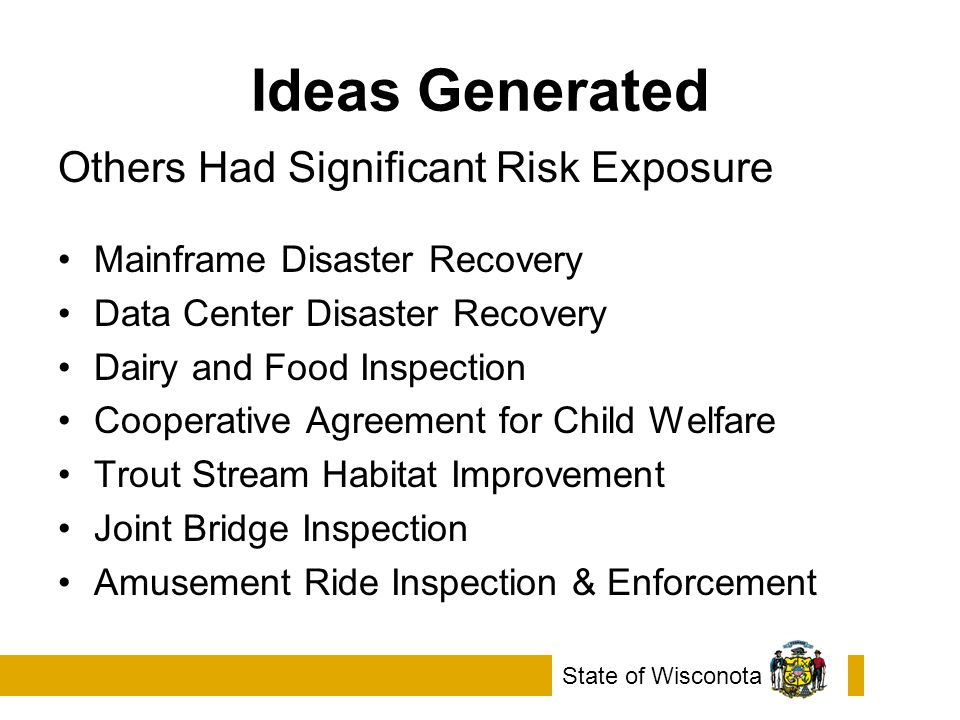 Ideas Generated Others Had Significant Risk Exposure Mainframe Disaster Recovery Data Center Disaster Recovery Dairy and Food Inspection Cooperative Agreement for Child Welfare Trout Stream Habitat Improvement Joint Bridge Inspection Amusement Ride Inspection & Enforcement State of Wisconota