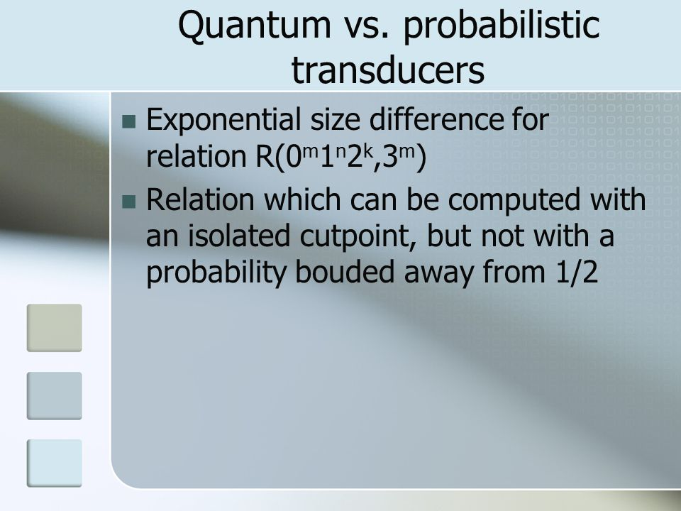 Exponential size difference for relation R(0 m 1 n 2 k,3 m ) Relation which can be computed with an isolated cutpoint, but not with a probability bouded away from 1/2