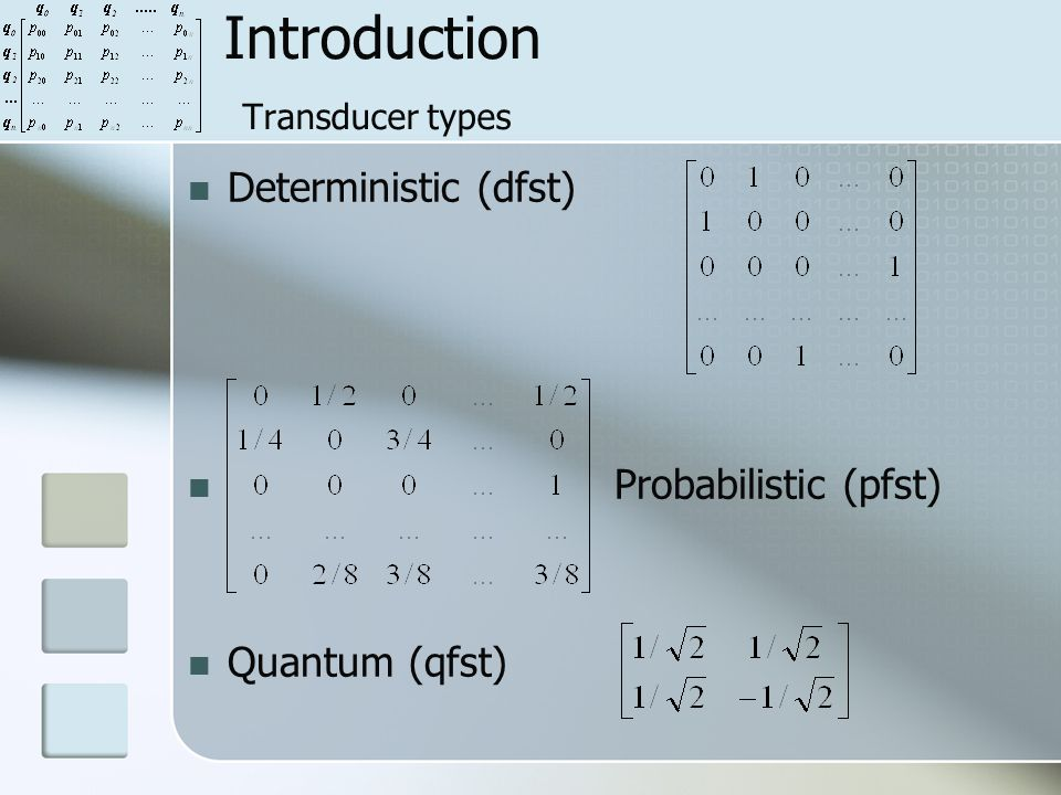 Introduction Transducer types Deterministic (dfst) Probabilistic (pfst) Quantum (qfst)