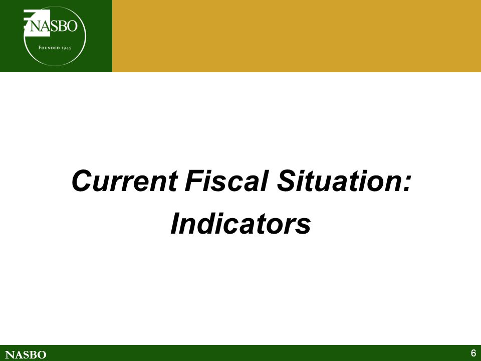 NASBO GF Growth *35-year historical average rate of growth is 5.6 percent *Fiscal '13 numbers are appropriated Source: NASBO Fall 2012 Fiscal Survey of States * Average