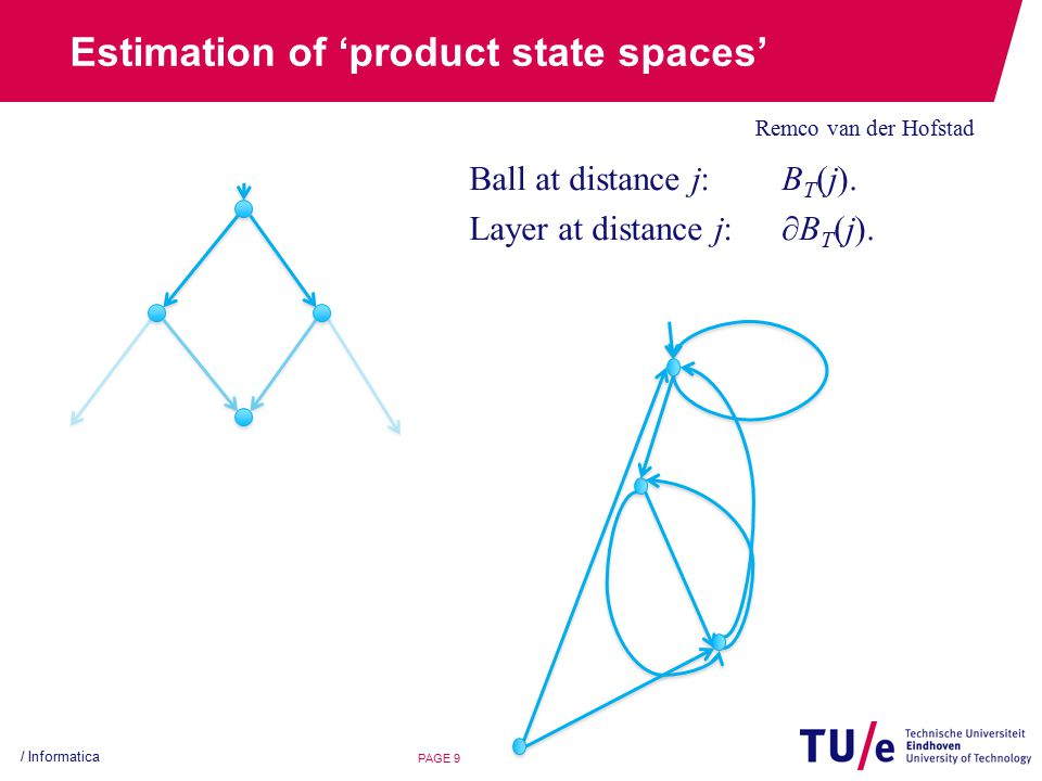 Estimation of 'product state spaces' Remco van der Hofstad / Informatica PAGE 9 Ball at distance j: B T (j).