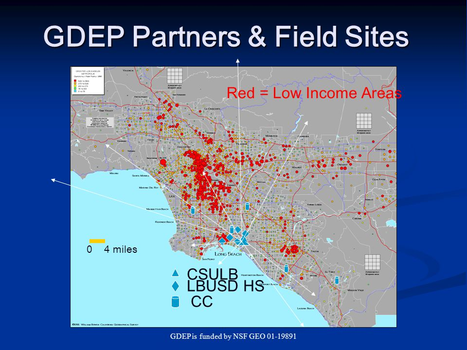 GDEP is funded by NSF GEO 01-19891 GDEP Outcomes Extensive Summer Research Program: Student involvement: 29 students involved over 3 years (27 from underrepresented groups) Faculty involvement: >30 CSULB, community college, and high school faculty Observable Changes in Participant Attitudes: Students: greater self-confidence, higher educational aspirations, nearly all in the geosciences Community college and high school faculty: more hands-on class activities, more knowledge of geoscience career possibilities CSULB faculty : better understanding of challenges students face – particularly students from urban, lower income areas; more interest in community-based, interdisciplinary, earth systems science research projects Dissemination: Publications: 5 papers published or in press in geoscience and/or education oriented journals, 1 with student co-authors Abstracts of presentations: >30, about half with student co-authors Website: http://www.csulb.edu/geography/gdep/