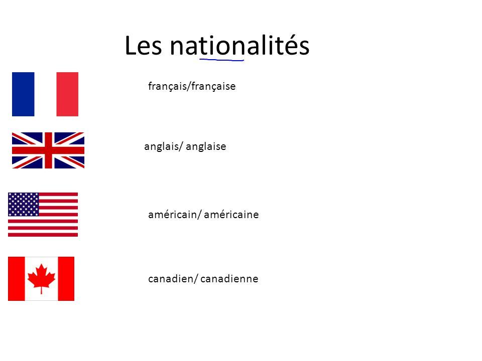 Les nationalités français/française anglais/ anglaise américain/ américaine canadien/ canadienne