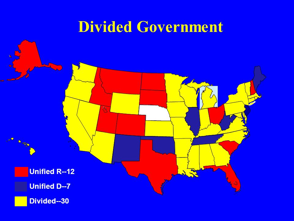 Divided Government Divided--30 Unified R--12 Unified D--7