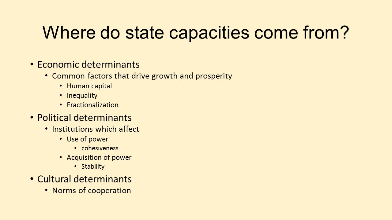 Where do state capacities come from.
