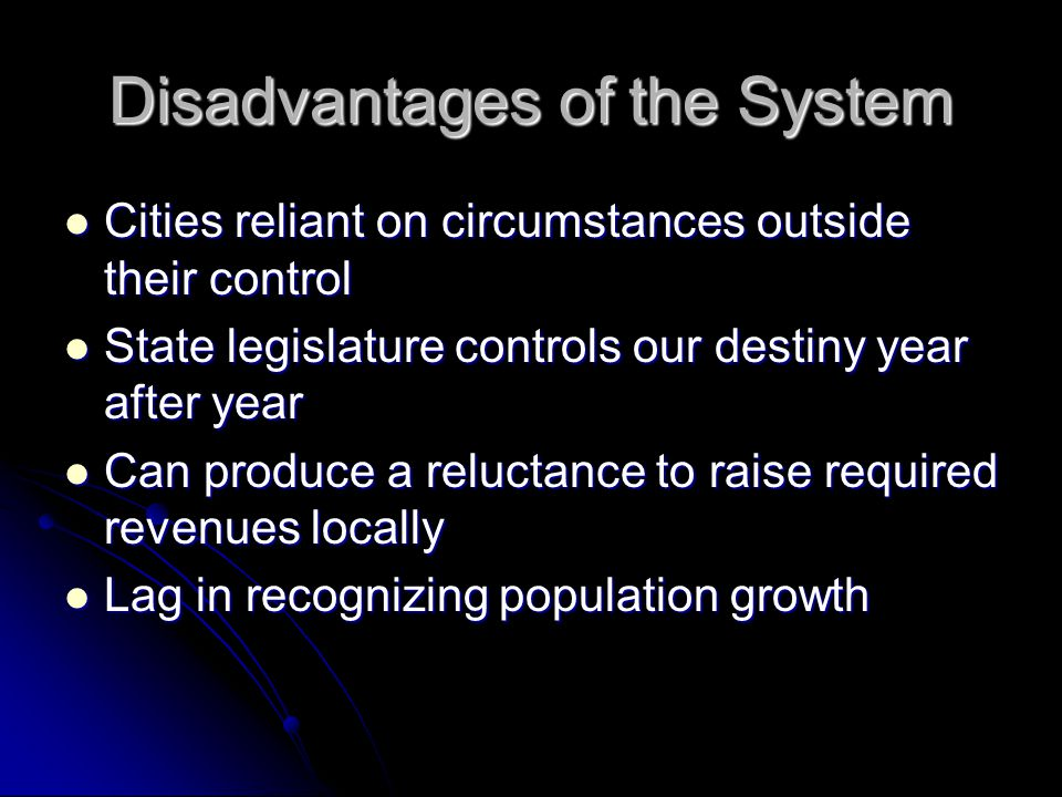 Disadvantages of the System Cities reliant on circumstances outside their control Cities reliant on circumstances outside their control State legislat