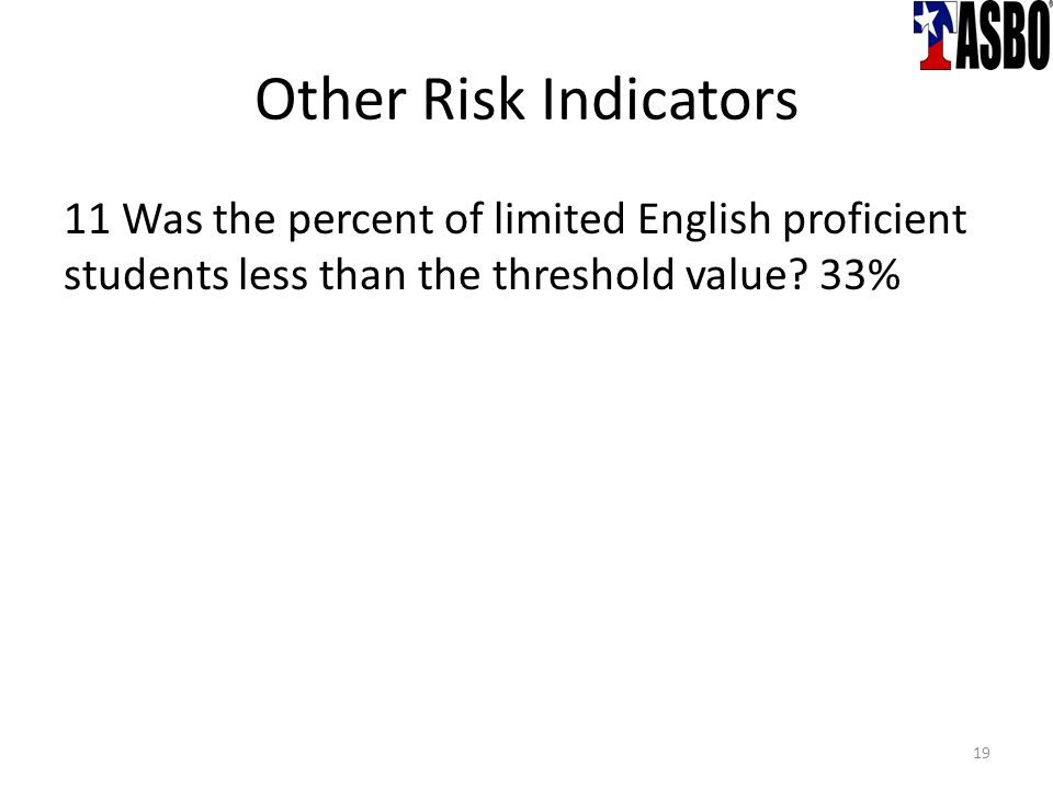 Other Risk Indicators 11 Was the percent of limited English proficient students less than the threshold value.