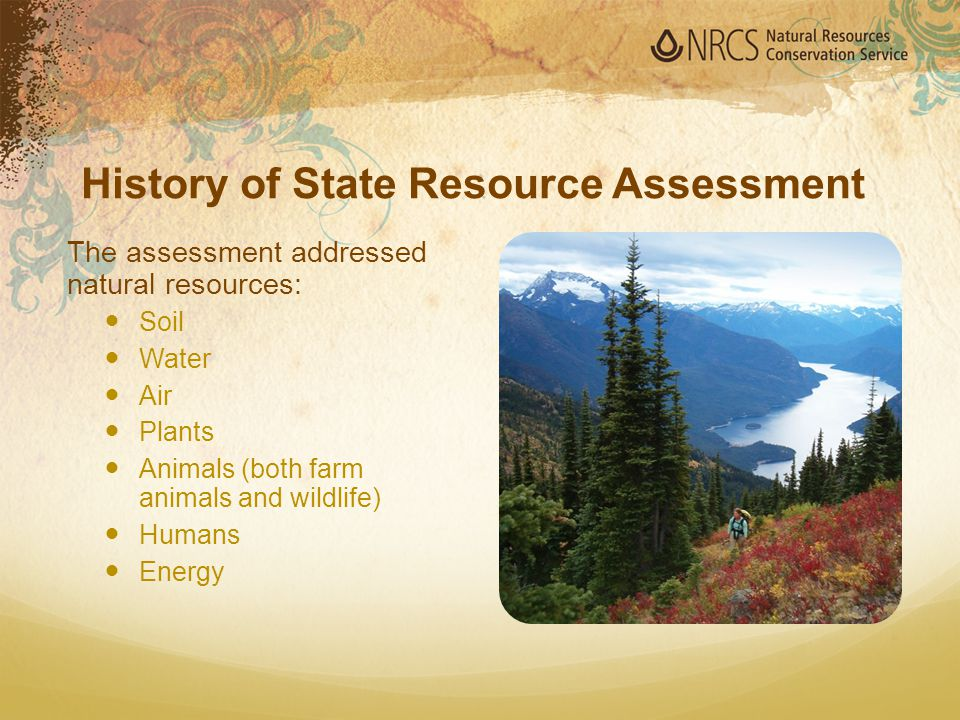 The assessment addressed natural resources: Soil Water Air Plants Animals (both farm animals and wildlife) Humans Energy History of State Resource Ass