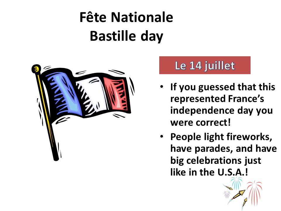 Fête Nationale Bastille day If you guessed that this represented France's independence day you were correct.