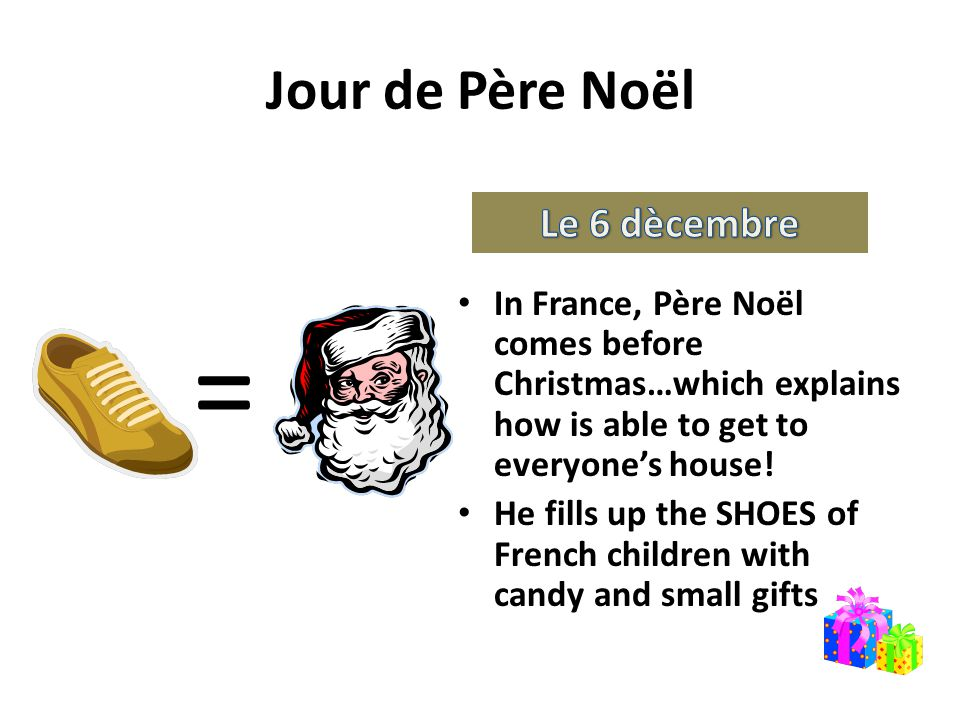 Jour de Père Noël In France, Père Noël comes before Christmas…which explains how is able to get to everyone's house.
