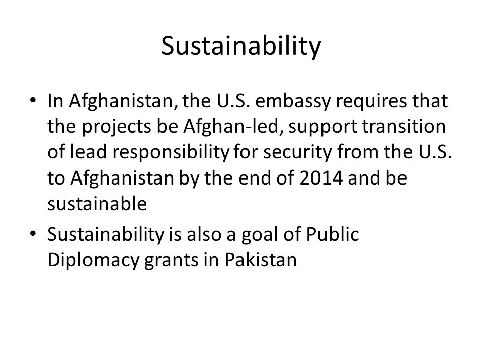 Sustainability In Afghanistan, the U.S.