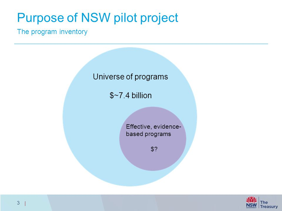 Purpose of NSW pilot project The program inventory 3