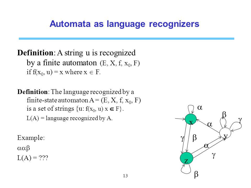 Automata as language recognizers Definition: A string u is recognized by a finite automaton (E, X, f, x 0, F) if f(x 0, u) = x where x  F.