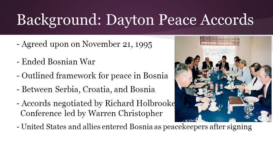 Key Players in Operation Joint End eavour Secretary of State: Warren Christopher (D-CA) → direct contact with President Clinton as member of advisory committee → more autonomy → supportive of peacekeeping operations → overshadowed by Asst.