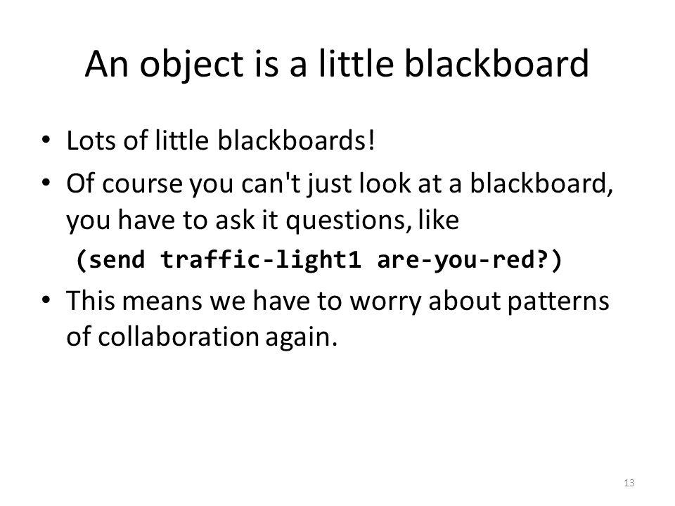 An object is a little blackboard Lots of little blackboards.