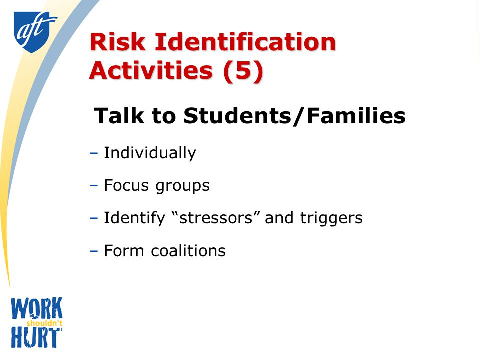 Risk Identification Activities (5) Talk to Students/Families –Individually –Focus groups –Identify stressors and triggers –Form coalitions