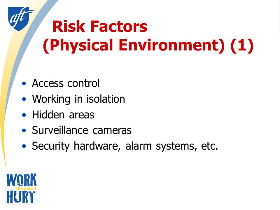 Risk Factors (Physical Environment) (1) Access control Working in isolation Hidden areas Surveillance cameras Security hardware, alarm systems, etc.