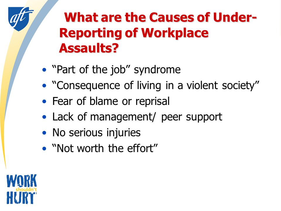 Violence Prevention Programs Assign responsibility and authority Involve staff in all aspects of violence prevention Allocate adequate resources Encourage reporting – No reprisals Equal commitment to worker safety and client outcomes