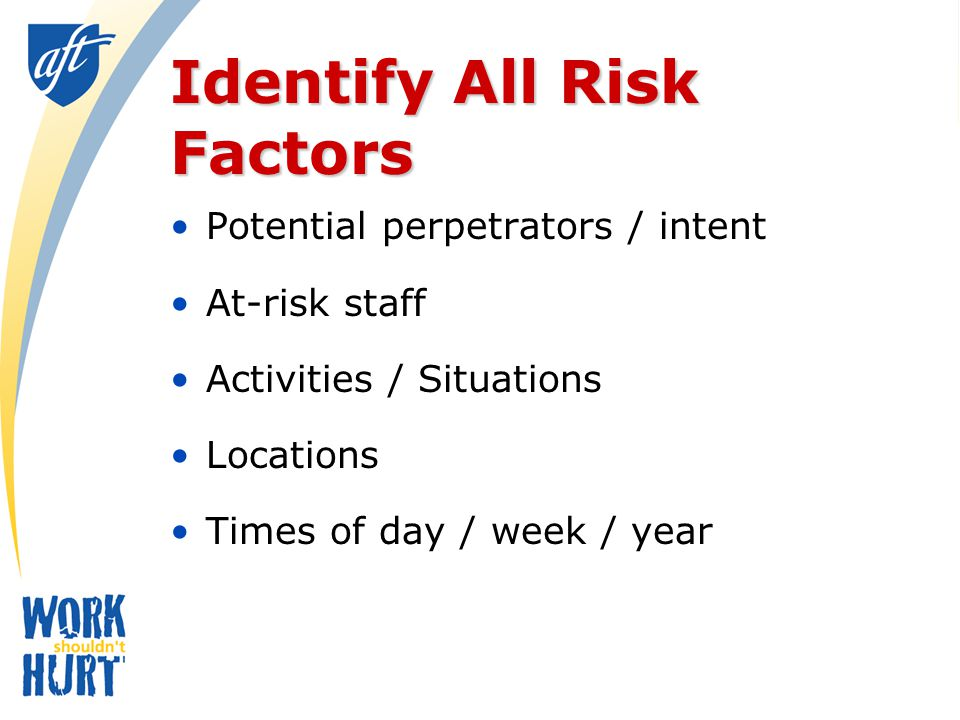 Risk Factors (organizational/administrative) (4) Training and Education Tailored to worksite Mandatory Periodic refreshers Interactive Focus only on individual actions?