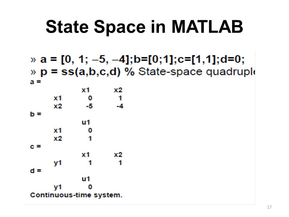 State Space in MATLAB 17