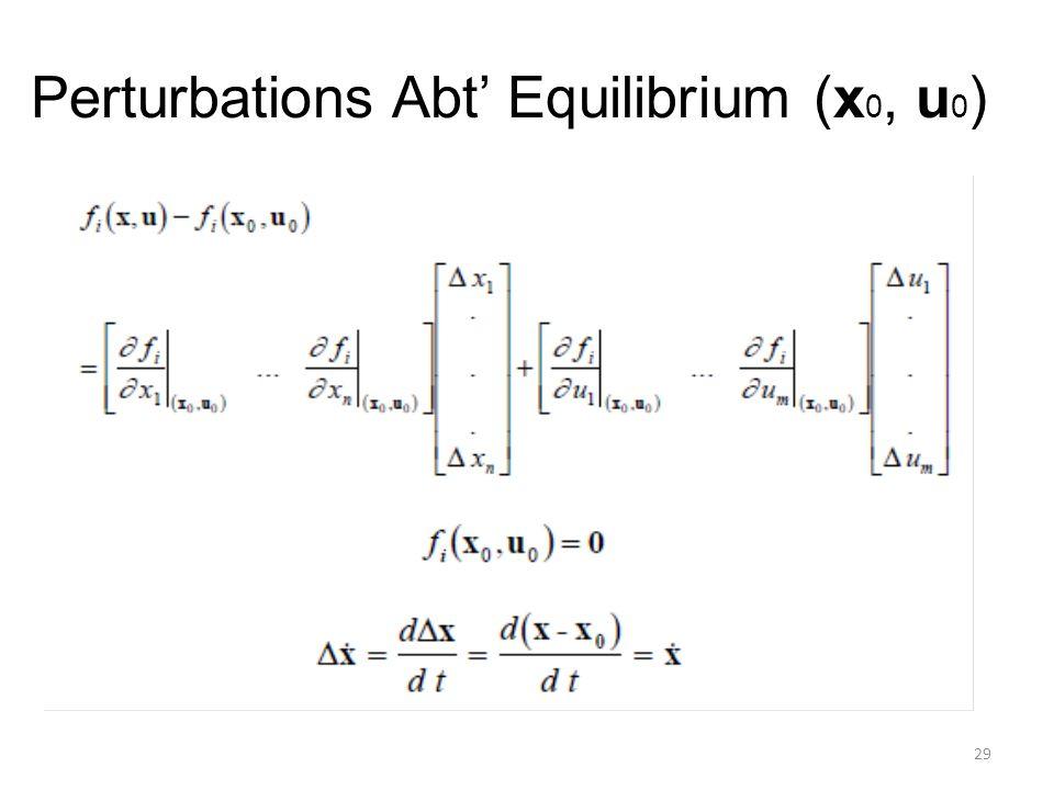 Perturbations Abt' Equilibrium (x 0, u 0 ) 29