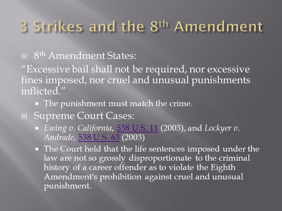" 8 th Amendment States: ""Excessive bail shall not be required, nor excessive fines imposed, nor cruel and unusual punishments inflicted.""  The punis"