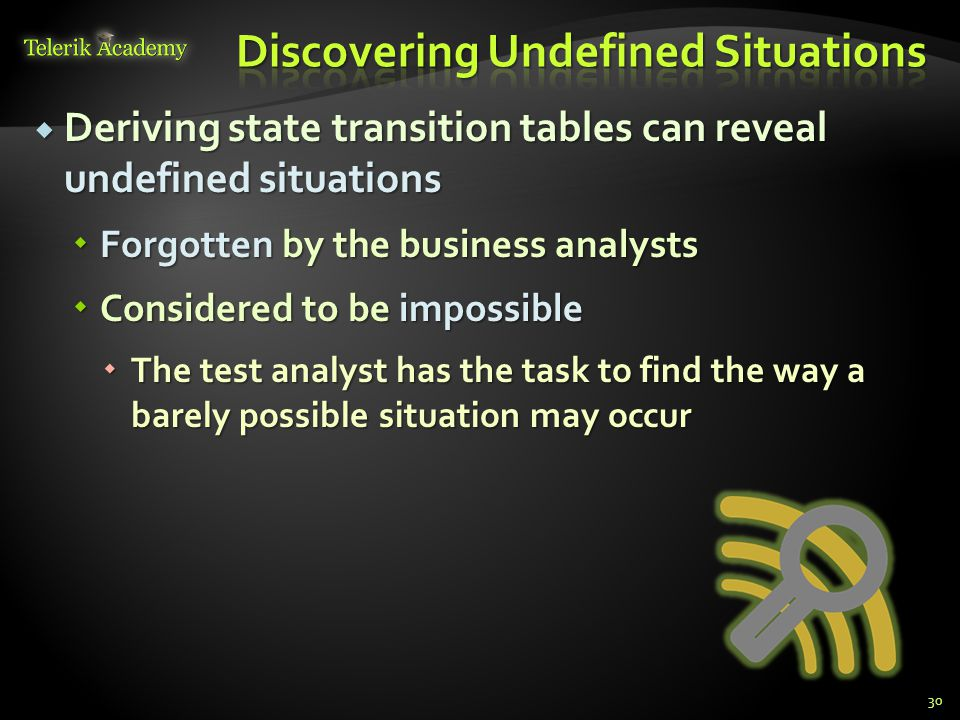  Deriving state transition tables can reveal undefined situations  Forgotten by the business analysts  Considered to be impossible  The test analyst has the task to find the way a barely possible situation may occur 30