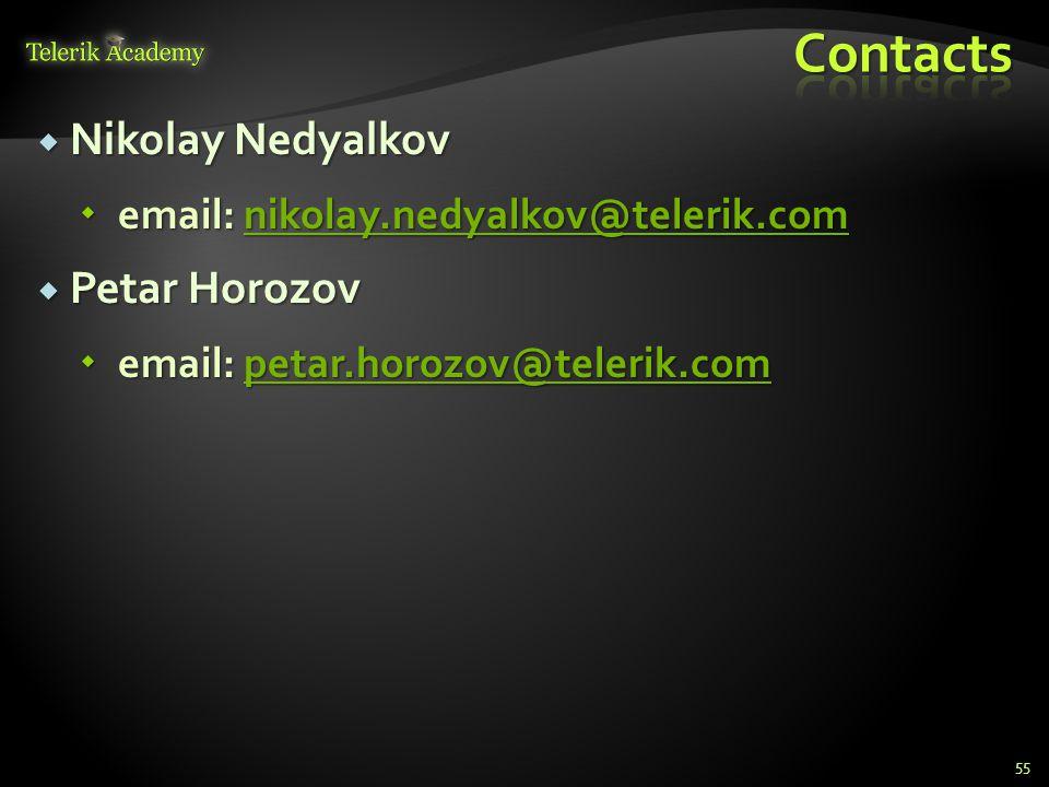  Nikolay Nedyalkov  email: nikolay.nedyalkov@telerik.com nikolay.nedyalkov@telerik.com  Petar Horozov  email: petar.horozov@telerik.com petar.horo