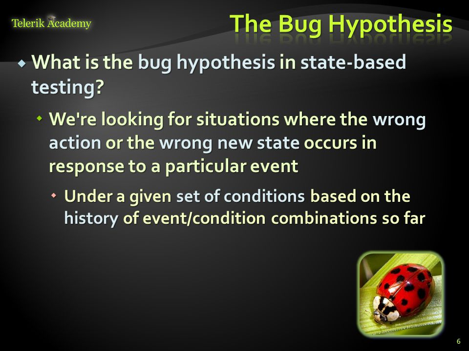  What is the bug hypothesis in state-based testing.