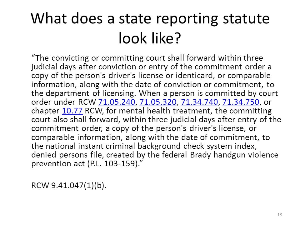 What does a state reporting statute look like.