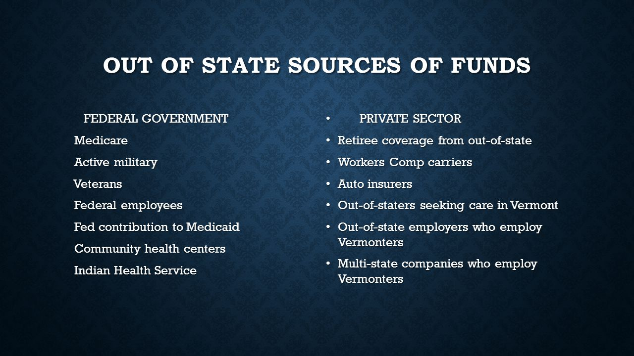 OUT OF STATE SOURCES OF FUNDS FEDERAL GOVERNMENT FEDERAL GOVERNMENT Medicare Medicare Active military Active military Veterans Veterans Federal employ