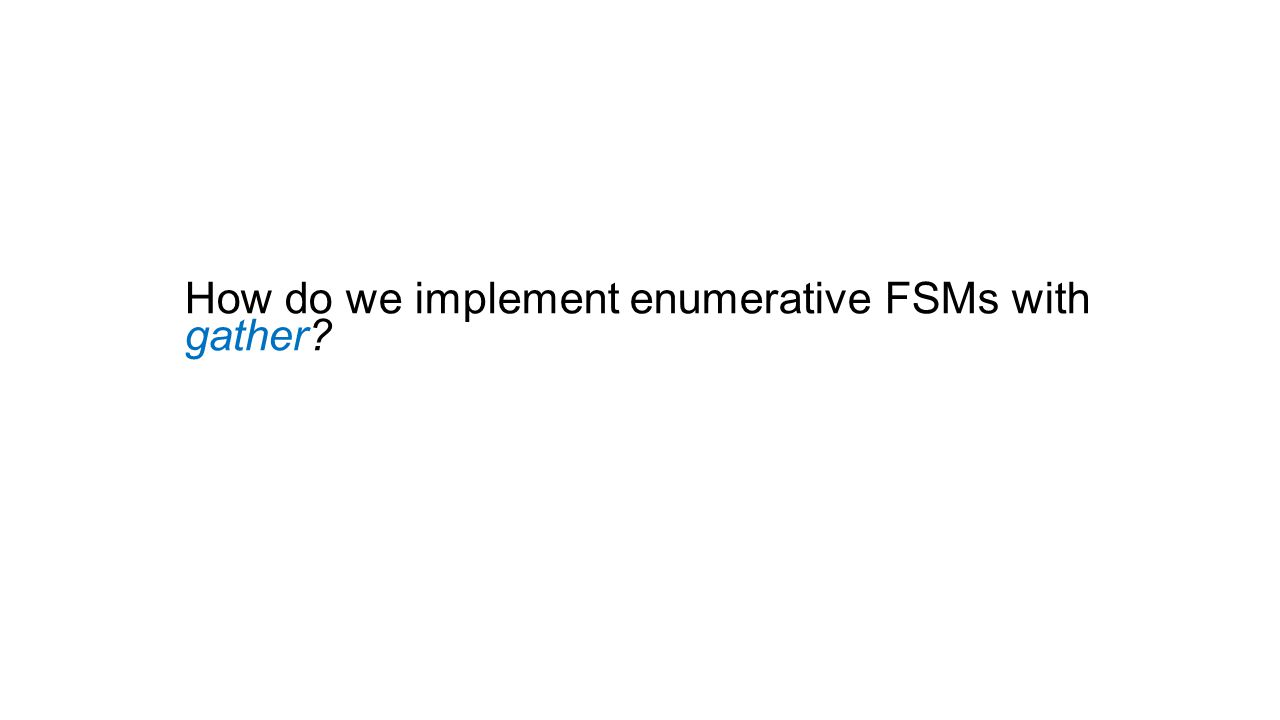How do we implement enumerative FSMs with gather
