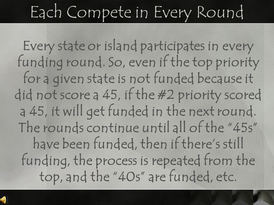 Each Compete in Every Round Every state or island participates in every funding round.