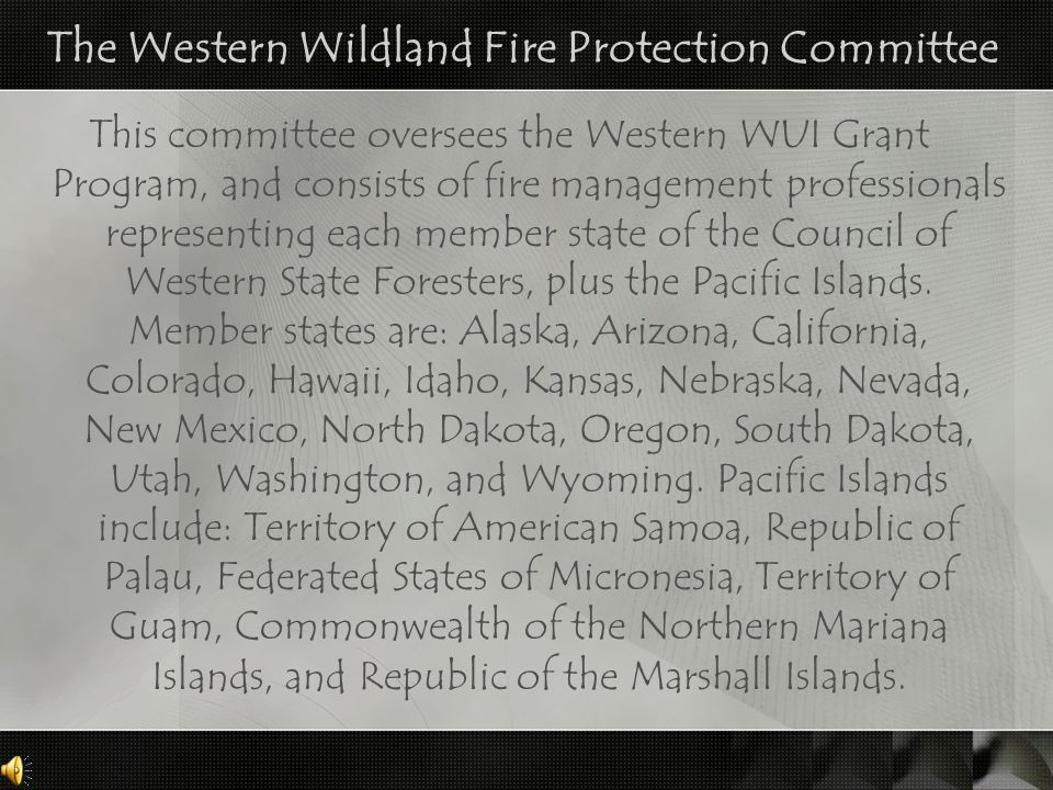 The Western Wildland Fire Protection Committee This committee oversees the Western WUI Grant Program, and consists of fire management professionals re