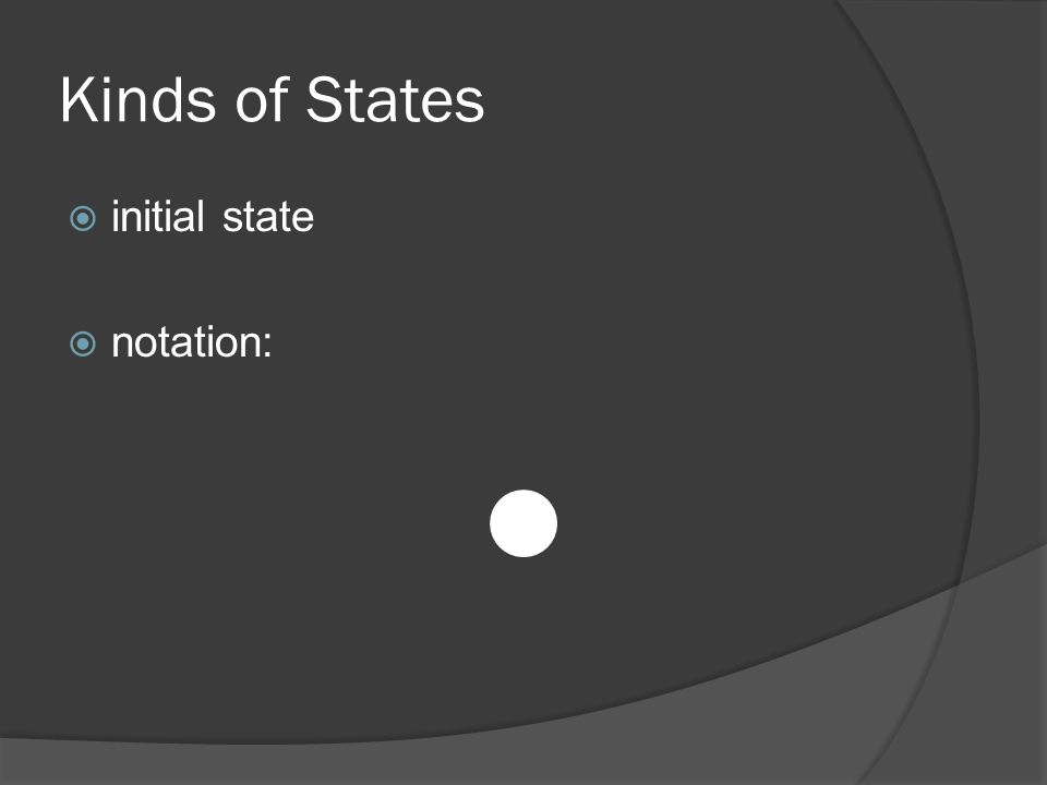 Kinds of States  initial state  notation:
