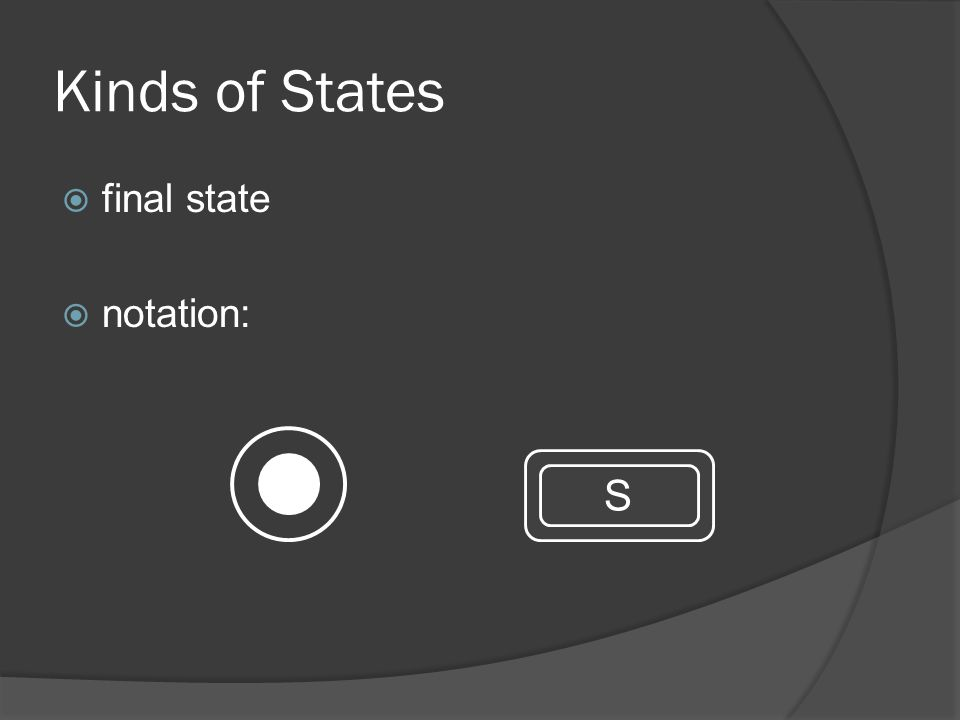 S Kinds of States  final state  notation: