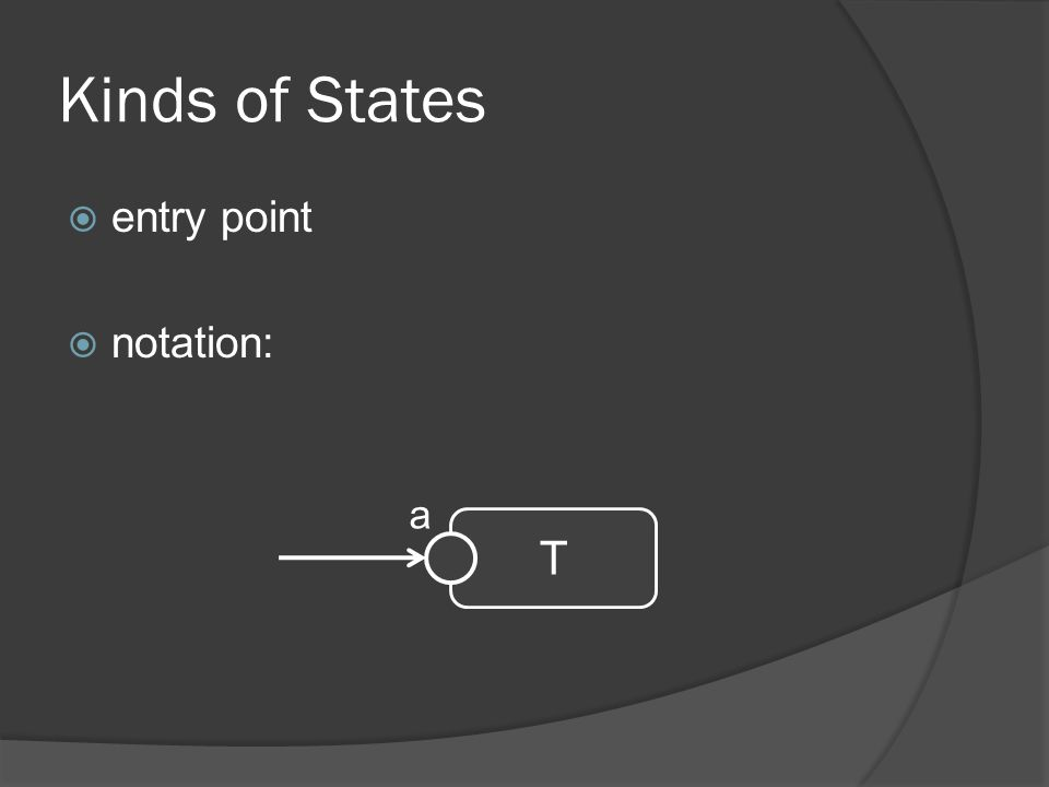 Kinds of States  entry point  notation: T a