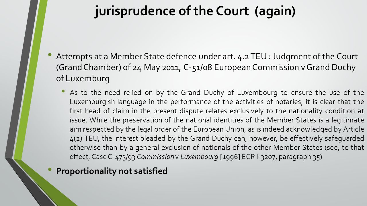 jurisprudence of the Court (again) Attempts at a Member State defence under art. 4.2 TEU : Judgment of the Court (Grand Chamber) of 24 May 2011, C-51/