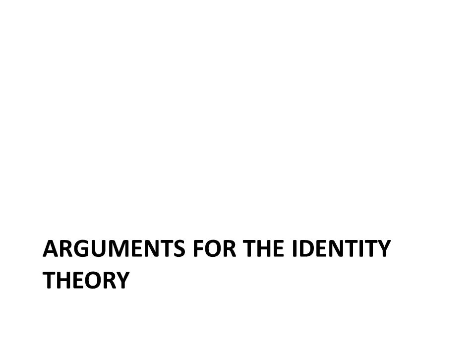 ARGUMENTS FOR THE IDENTITY THEORY