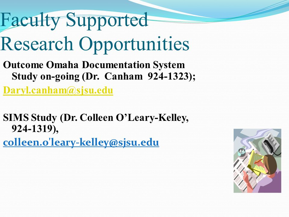Faculty Supported Research Opportunities Outcome Omaha Documentation System Study on-going (Dr. Canham 924-1323); Daryl.canham@sjsu.edu SIMS Study (Dr