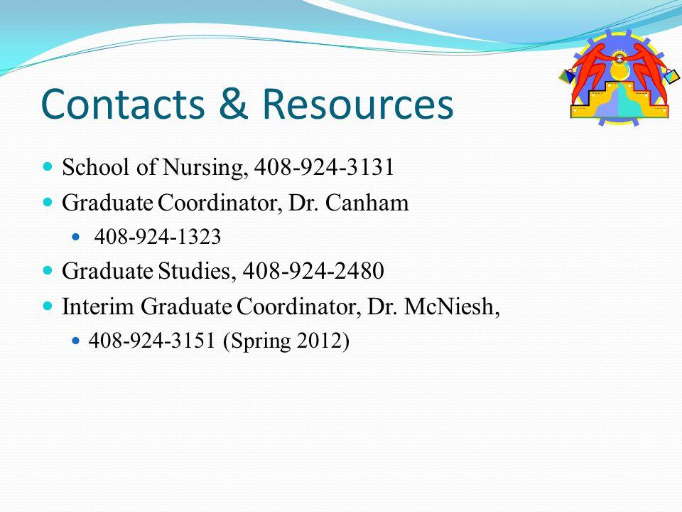 Contacts & Resources School of Nursing, 408-924-3131 Graduate Coordinator, Dr.