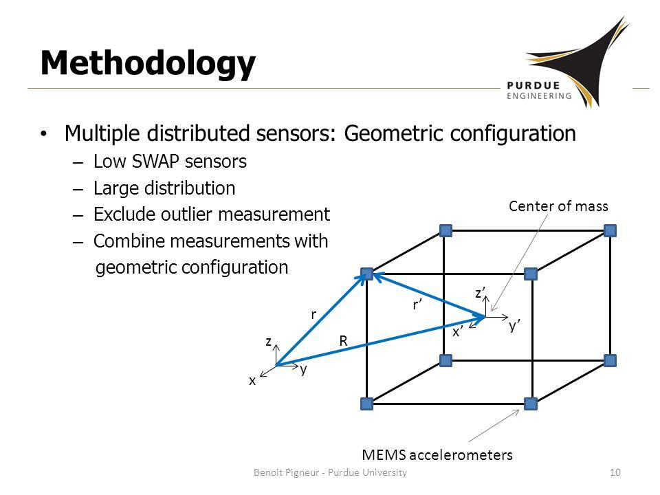 Methodology Multiple distributed sensors: Geometric configuration – Low SWAP sensors – Large distribution – Exclude outlier measurement – Combine measurements with geometric configuration Benoit Pigneur - Purdue University10 Center of mass MEMS accelerometers x z y x' z' y' R r' r