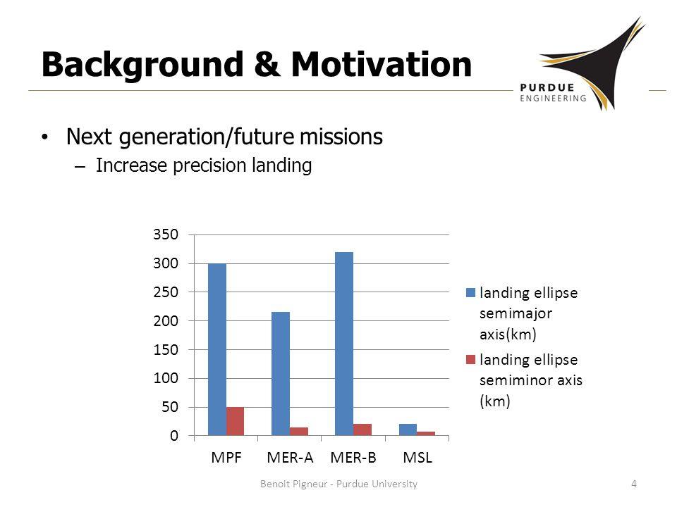 Background & Motivation Next generation/future missions – Increase precision landing Benoit Pigneur - Purdue University4