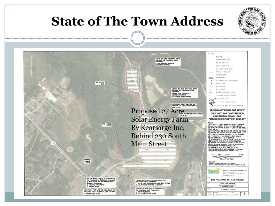 State of The Town Address Proposed 27 Acre Solar Energy Farm By Kearsarge Inc. Behind 230 South Main Street